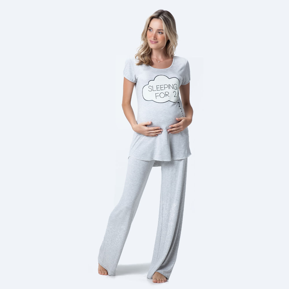 Pijama Longo Malha Luana Maternidade - joge 23642009ae7